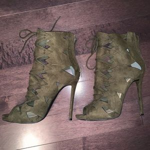 Lace up Army Green Heels